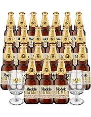 Pack Cerveza Modelo Pura Malta 24 Botellas + 2 Copas Edición Especial