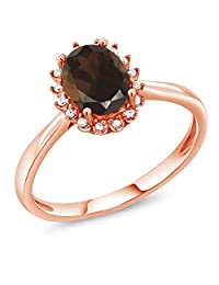 1.20 Ct Oval Brown Smoky Quartz 10K Rose Gold Ring with Diamond Accent