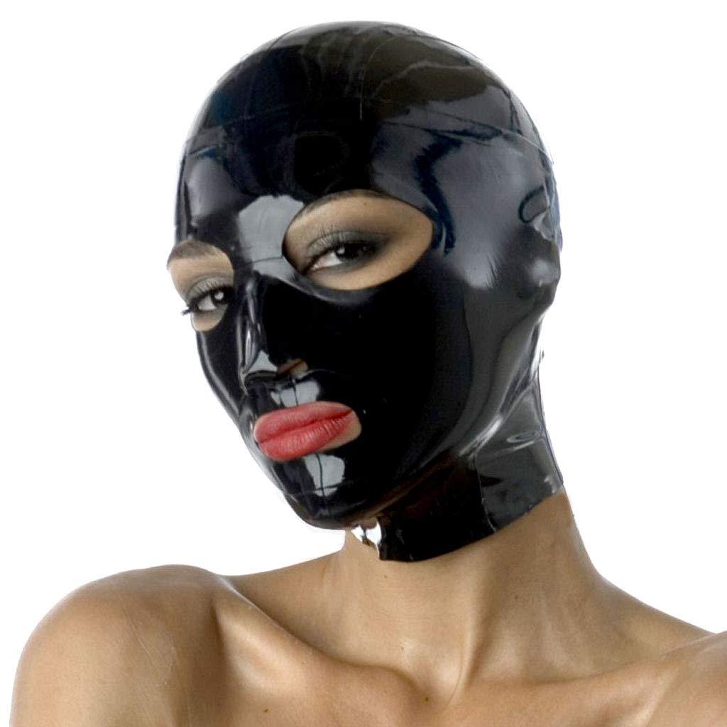 TINGSHOP Latex Mask, 3-Hole Hood Unisex Halloween Mask Hood Open Eye Mask Role Play Adult Sex Toys,Black,XL by TINGSHOP