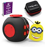Cube New Big Improved Cube Quality Anxiety Attention Toy with Bonus eBook inc + Minion Key Chain - Relieves Stress and Anxiety and Relax for Children + Adults Bonus EBOOK