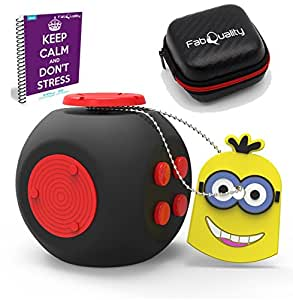 SPECIAL OFFER FIDGET CUBE New Improved Cube Quality Anxiety Attention Toy With BONUS eBook Included + Minion Key Chain - Relieves Stress And Anxiety And Relax for Children and Adults BONUS EBOOK
