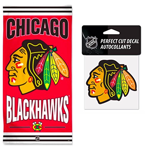 (WinCraft NHL Chicago Blackhawks 30 x 60 inch Towel and 4 x 4 inch Perfect Cut Decal Set)