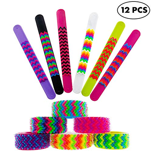 Slap Bracelets for Kids Boys Girls 12 Pieces Pack - Silicone Spiky Snap Wristbands for Fidget and Sensory - Great Party Favors, Treasure Box Prizes, Teacher Rewards, Stocking Stuffers