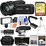 Panasonic HC-VX1 Wi-Fi 4K Ultra HD Video Camera Camcorder 128GB Card + Case + 3 Filters + Tripod + Stabilizer + LED Light + Microphone + Kit