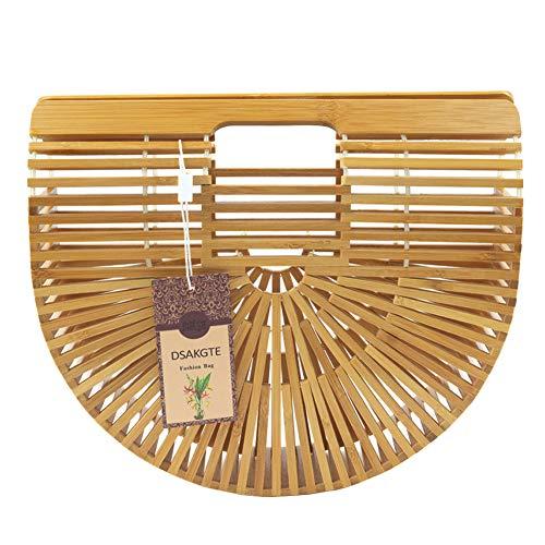 Women's Top Handle Bamboo Handbag Summer Beach Tote Bag (Wholesale Womans Handbag)