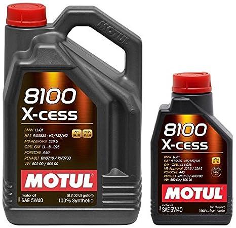 aceite motor MOTUL 8100 X-CESS 5W40 en 6 litros (1x5 lts+ 1x1 lt): Amazon.es: Coche y moto