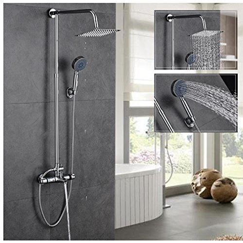 ROVATE Height Adjustable Thermostatic Rainfall Shower System , Brass Body Mixe Faucet with 8 Inch Shower Head and Handle Showerhead and shower Arm and 59 Inch Hose, Chrome