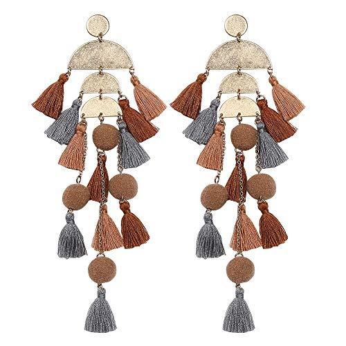 Brown Yellow Earrings - Artilady boho tassel earrings for women (tassel brown)