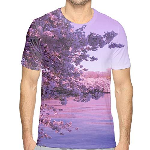 Men Cherry Blossom Printed Short Sleeve T-Shirt Casual Tops Juniors Tees