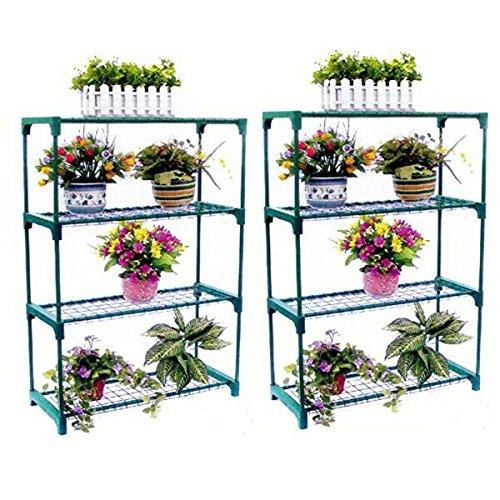 SavingPlus 4Étages en Acier Mini Serre de Jardin Étagère d'organisation Plante avec Support