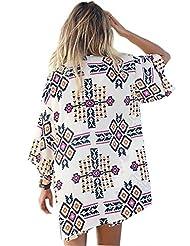 Moxeay Crochet Lace Chiffon Kimono Cover up Dress Swimwear Beachwear