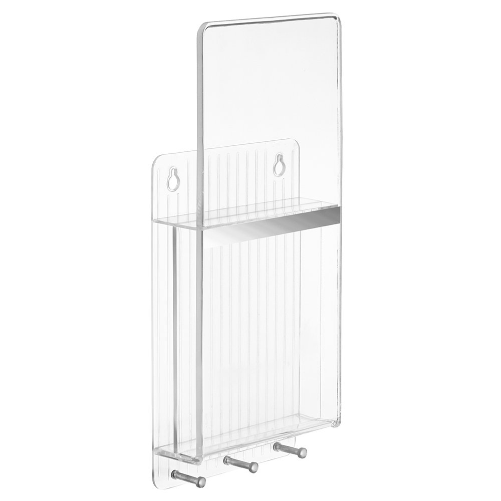 InterDesign Linus Divided Mail Holder and Key Rack Organizer – Wall Mounted Letter Shelf and 3 Hanging Hooks, Clear/Chrome