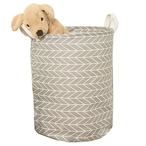 Didihou Laundry Hamper, Cotton & Linen Drawstring Waterproof Collapsible Laundry Basket Storage for Bedroom Nursery Dorm or Closet (Grey)
