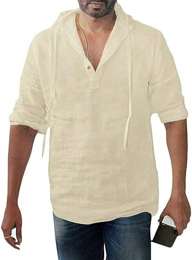 Camisa con Capucha de Manga Larga Suelta de Lino y algodón Color Liso para Hombre: Amazon.es: Ropa y accesorios