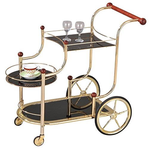 ACME Furniture Acme 98006 Lacy Glass Serving Cart, Golden Plated & Cherry Wood