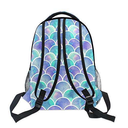 ZZKKO Colorful Mermaid Scale Backpacks College School Book Bag Travel  Hiking Camping Daypack 8eb4acbec7