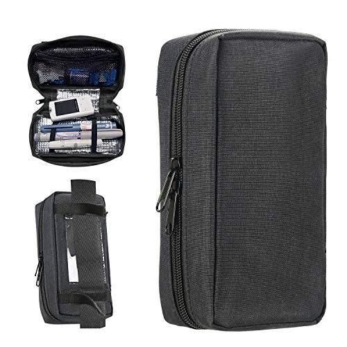 Portable Insulin Travel Case - Medication Diabetic Supplies Organizer Medical Bag by YOUSHARES (Black)