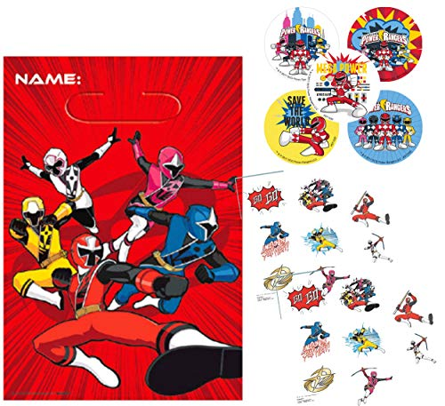 Power Rangers Party Favor Goody Bags with Bonus Tattoos & Stickers! For 8 Guests! -