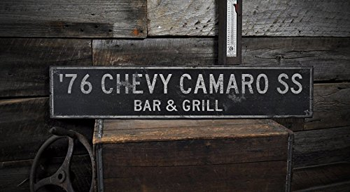Wooden 1976 76 CHEVY CAMARO SS BAR & GRILL - Rustic Sign - 11.25 x 60 (60