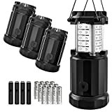 LED Camping Lantern - Etekcity 4 Pack Portable LED Camping Lantern with 12 AA Batteries - Survival Kit for Emergency, Hurricane, Power Outage (Black, Collapsible)