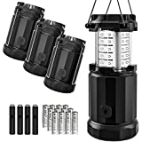 Etekcity 4 Pack Portable LED Camping Lantern with 12 AA Batteries - Camping Equipment Gear Survival Kit for Emergency, Hurricane, Power Outage (Black, Collapsible) (Upgraded CL30)