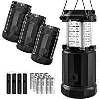 Etekcity 4 Pack Portable LED Camping Lantern with 12 AA...