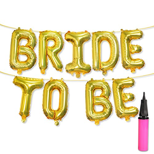 UTOPP Bride to BE Gold Foil Balloons Banner, 16 Letter Balloons Hen Night Party Decoration for Bridal Shower Party,Bachelorette Party Bridal Shower Decorations, Gold Balloons Banner with Air Pump