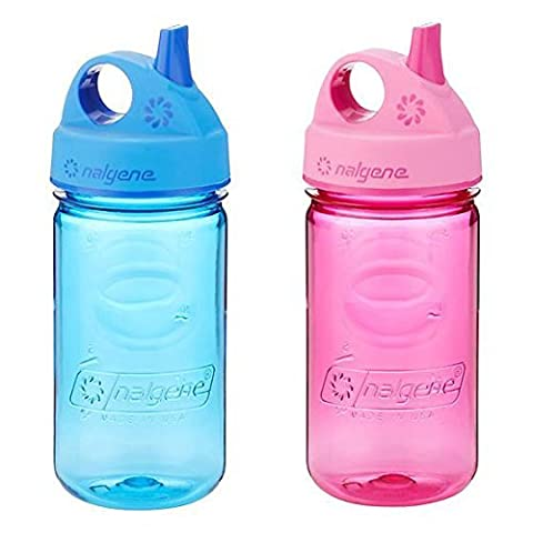 Nalgene Grip-N-Gulp Kids / Childrens Tritan 12oz Water Bottles - Blue and Pink Bundle Pack of Two Bottles. Each bottle is 7.5 Inches Tall by 3 Inches in Diameter (Blue and - Nalgene Grip N-gulp
