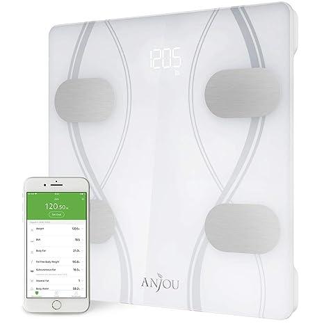 TaoTronics Báscula personal digital, Bluetooth, Smart App inteligente con 12 mediciones fundamentales para el