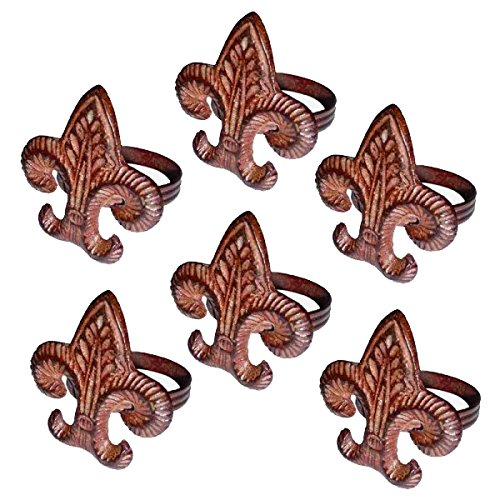 Q&Q Metal Fleur De Lys Napkin Ring Holder - Set/6 by Q&Q