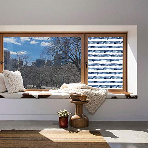 YOLIYANA Privacy Window Film Decorative,Harbour Stripe,for Glass Non-Adhesive,Watercolor Style Paintbrush Stripes Sea Marine Life ()