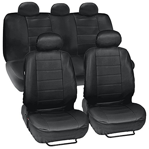 (Black Synthetic Leather Seat Covers for Car & SUV Complete Set - Premium Leatherette, Side Airbag Compatible)