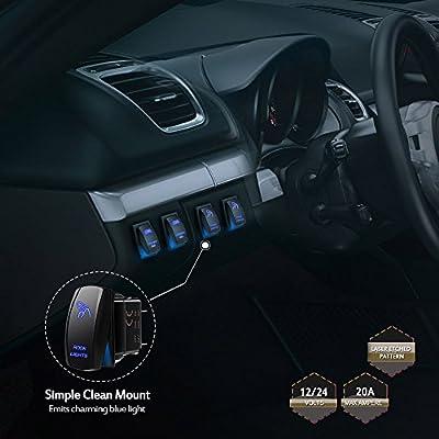 MICTUNING Blue ROCK LIGHTS Rocker Switch Kit- On/Off Blue LED Light 20A 12V (LS083501JL): Automotive