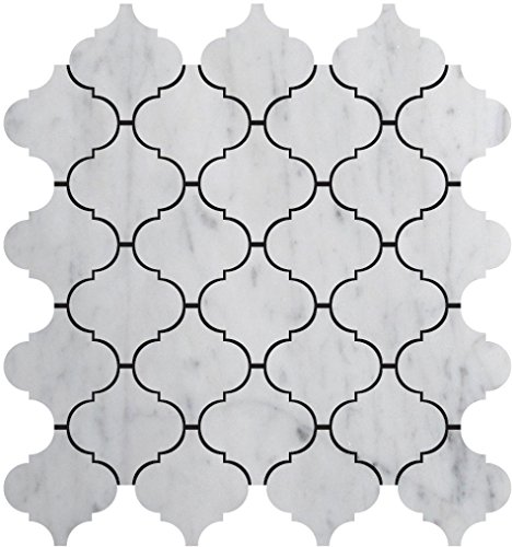 Bianco White Carrara Premium Italian Polished Marble Mosaic Tiles 1 Square Feet (LUXURY MOSAIC)