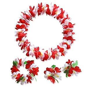 4Pcs/Set Thicken Hawaiian Garland Bracelet Headband Artificial Flower Necklace Beach Party Birthday Favors Halloween Supplies 43