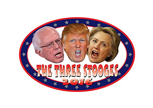 Three Stooges Mask (HILLARY TRUMP AND BERNIE STARING AS THE THREE STOOGES 2016 DECAL)