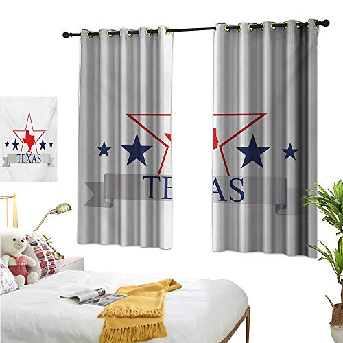 Warm Family Linen Curtains Texas Star,San Antonio Dallas Houston Austin Map with Stars Pattern USA,Navy Blue Vermilion Pale Grey 84
