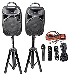 rockville rpg082k dual 8 powered pa system speakers bluetooth mic stands cables. Black Bedroom Furniture Sets. Home Design Ideas