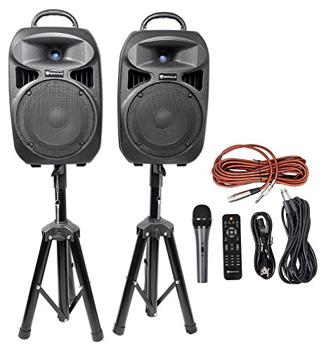 "Rockville RPG082K Dual 8"" Powered PA System Speakers/Bluetoo"