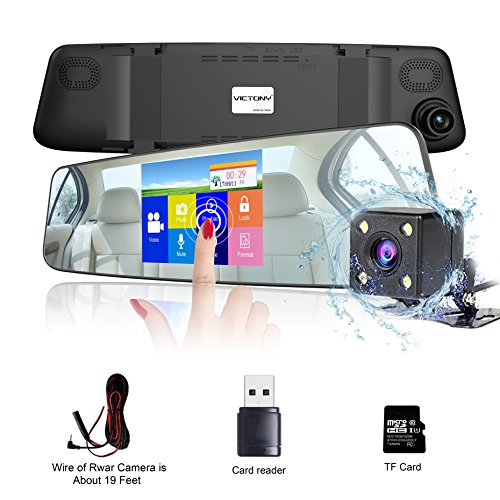 VICTONY Dual Lens Car Camera, Mirror Dash Cam 1080P 4.3 Inch Touch Screen Car Video Recorder with 170-degree Wide Angle Lens,Night Vision [8GB SD Card Included] -Silver