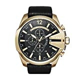 Diesel DZ4344 Mens Mega Chief Chronograph Black Leather Strap Watch