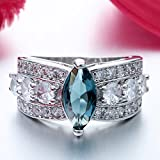 Women Fashion 925 Silver London Blue Topaz Marquise Cut Ring Wedding Jewelry New (6)