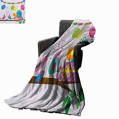 Kids Birthday Throw Blanket Singing Birds Happy Birthday Song Flags Cone Hats Party Cake Celebration,Super Soft and Comfortable,Suitable for -