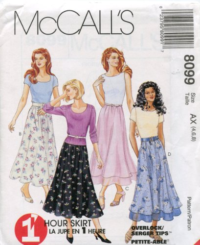 McCall's Pattern 8099 ~ 1 Hour Pull-On Single or Tiered Skirt ~ Sizes 4, 6, 8 - Tiered Single