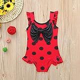 Jshuang (3Y-10Y) Baby Girls One Piece Swimwear Sleeveless Polka Dot Bow Bikini Swimsuit Beach Bathing