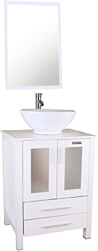 U-Eway 24 Bathroom Cabinet Vanity,White Round Ceramic Vessel Sink,Bathroom Vanity Top with Porcelain White Sink Set,Bathroom Faucet 1.5 GPM,Overflow,with Mirror White Vanity Round Ceramic Sink