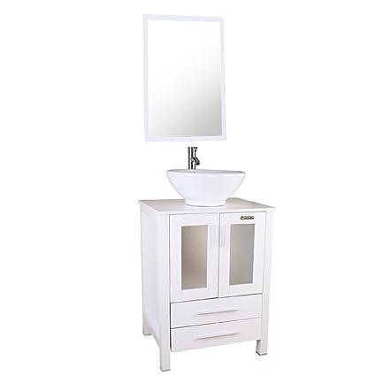 Amazon Com U Eway 24 Bathroom Cabinet Vanity White Round Ceramic