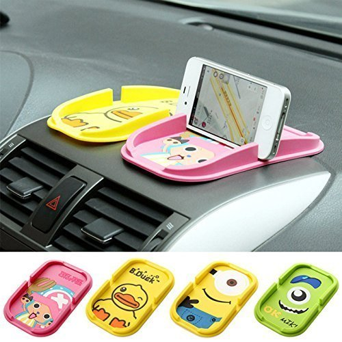 New Cute Cartoon Roadster Non-slip Smartphone Stand Sticky Car Mat Dashboard Anti-Slip Magic Sticky Silicone Gel Pad Dash Mount Vehicle Smart Cell Mobile Phone Key Coins Mini GPS Electronic Devices Holder (Random Style)