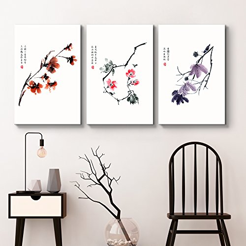 wall26 - 3 Panel Canvas Wall Art - Red, Pink, Purple Flowers with Chinese Writing Watercolor Art - Giclee Print Gallery Wrap Modern Home Decor Ready to Hang - 16