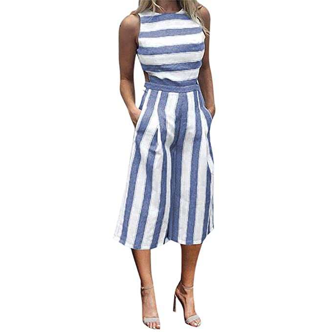 Damen Streifen Spielanzug Wide Leg Riemchen Jumpsuit Clubwear Sommer Overall DE